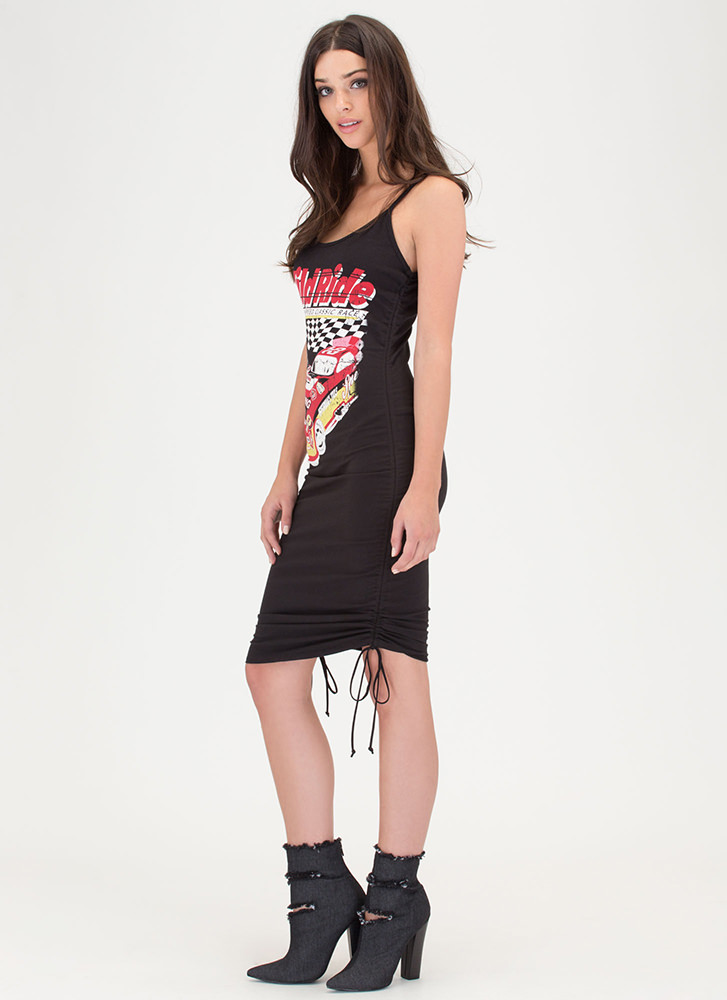 Race You There Graphic Ruched Dress BLACK