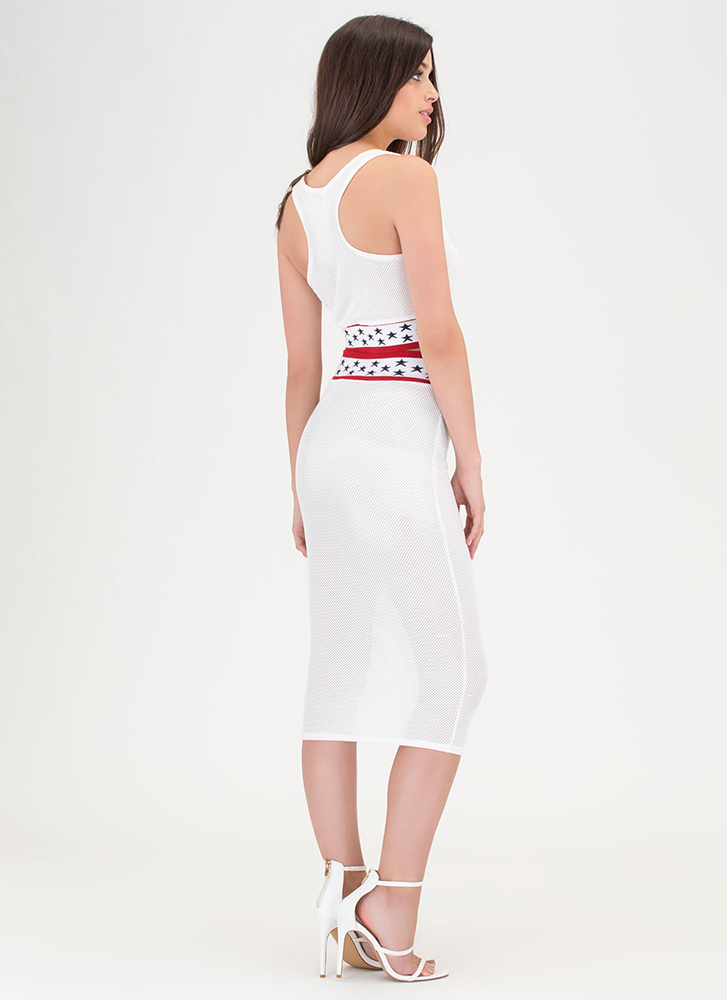 Starlet Style Perforated Two-Piece Dress WHITE