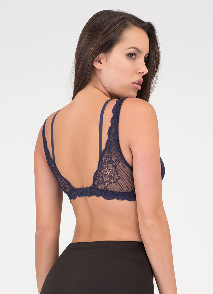 Underneath It All Sheer Layered Bralette NAVY