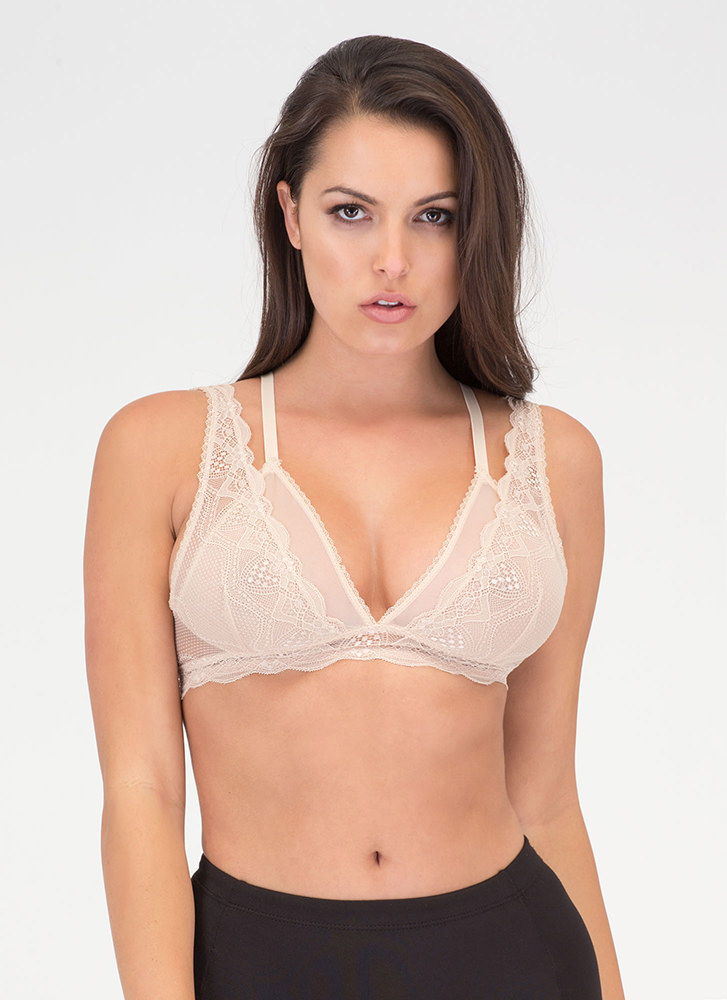 Underneath It All Sheer Layered Bralette NUDE