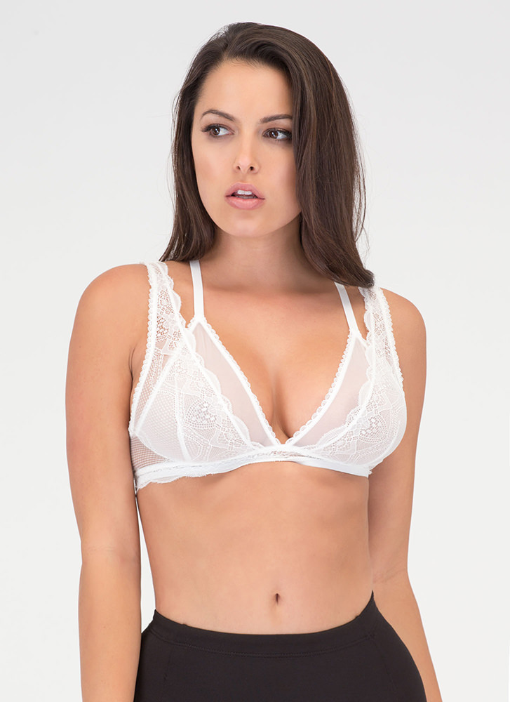 Underneath It All Sheer Layered Bralette WHITE