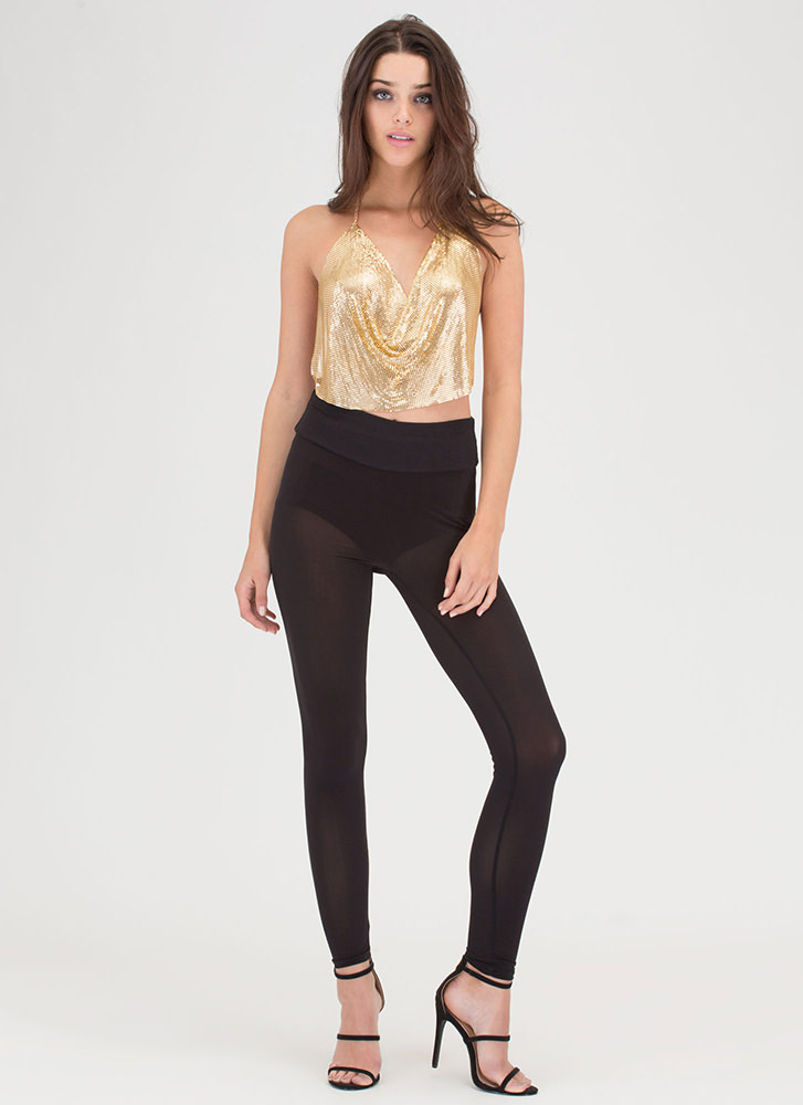Studio 54 Chainmail Halter Top GOLD