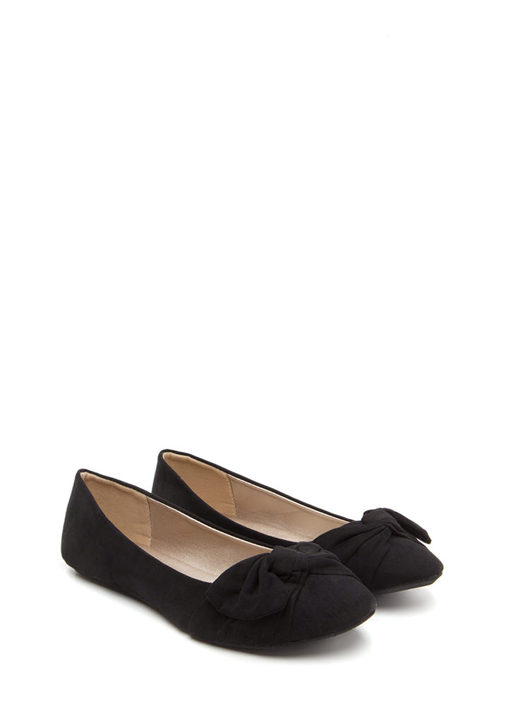 Knot Just Some Faux Suede Ballet Flats BLACK