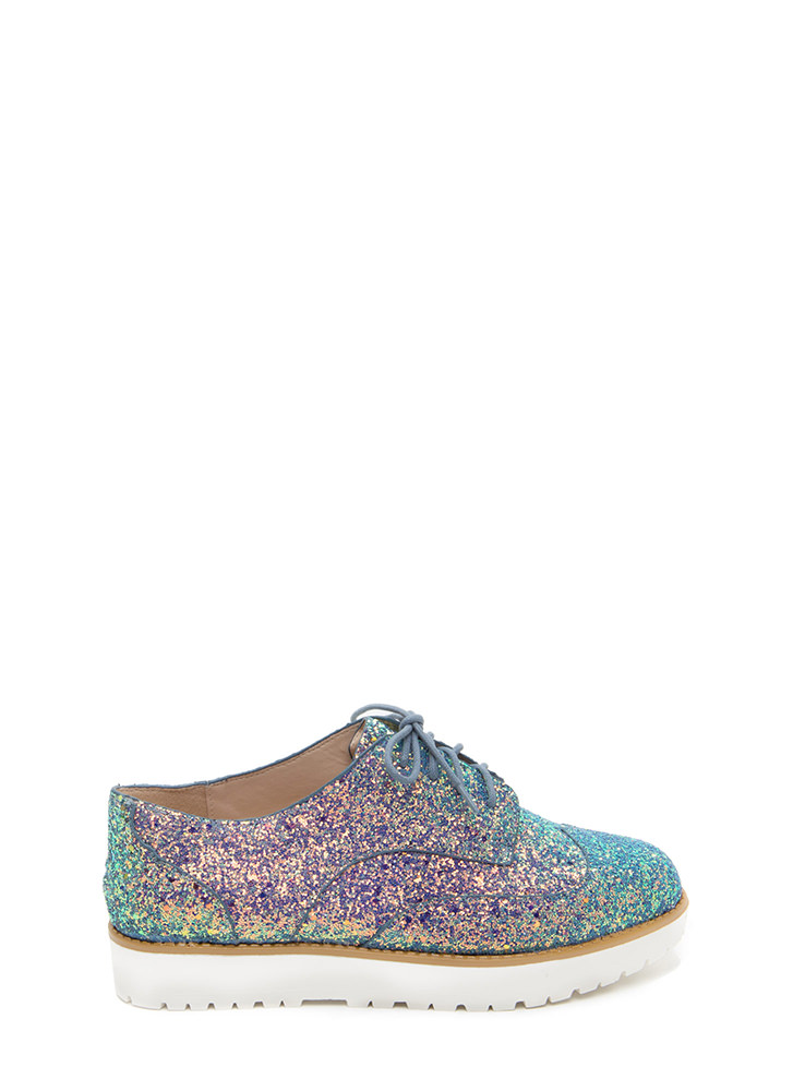 Pick Of The Glitter Platform Oxfords ICEBLUE