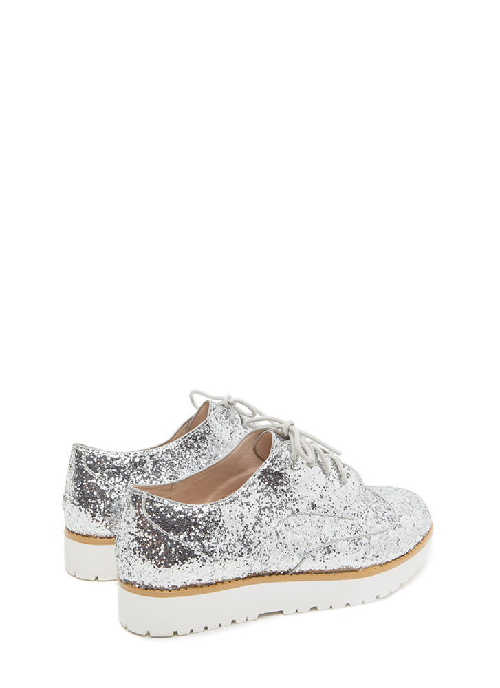 Pick Of The Glitter Platform Oxfords SILVER