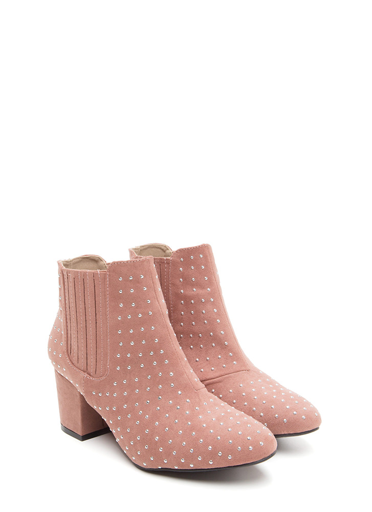 Star Studded Faux Suede Booties MAUVE