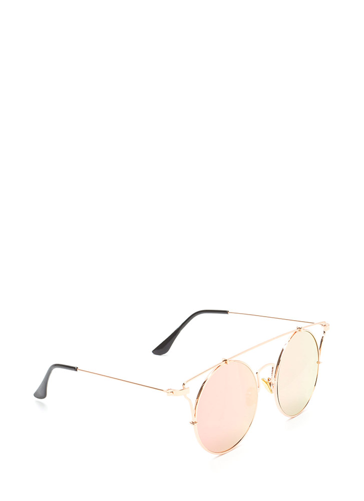 Full Circle Shiny Brow Bar Sunglasses ROSEGOLD