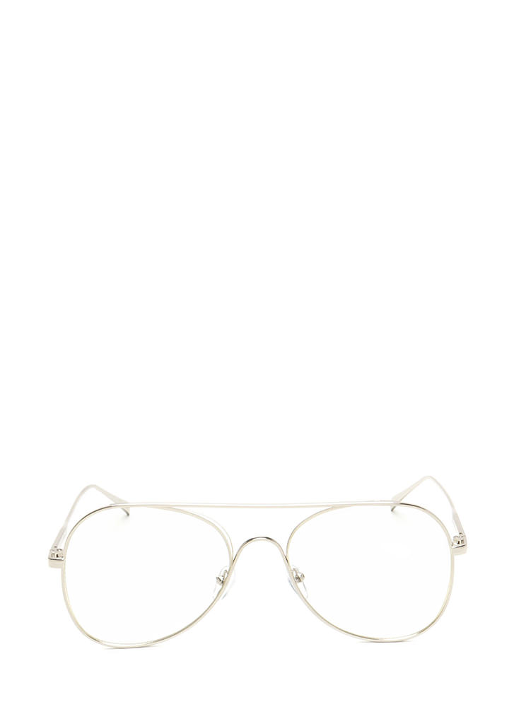 One Fluid Motion Aviator Sunglasses CLEARSILVER