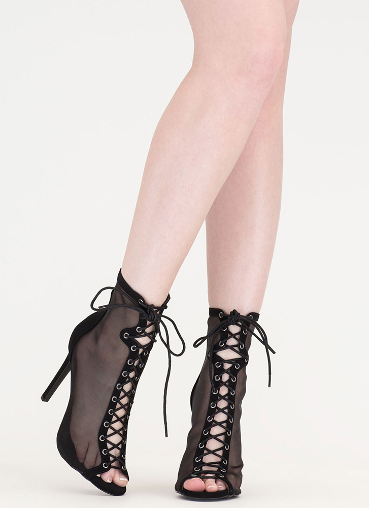 Just To Be Sheer Mesh Lace-Up Heels BLACK