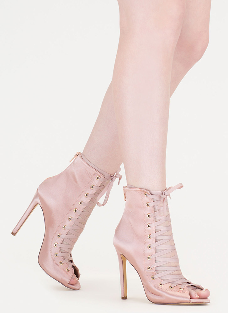 Smooth And Satiny Lace-Up Heels NUDE