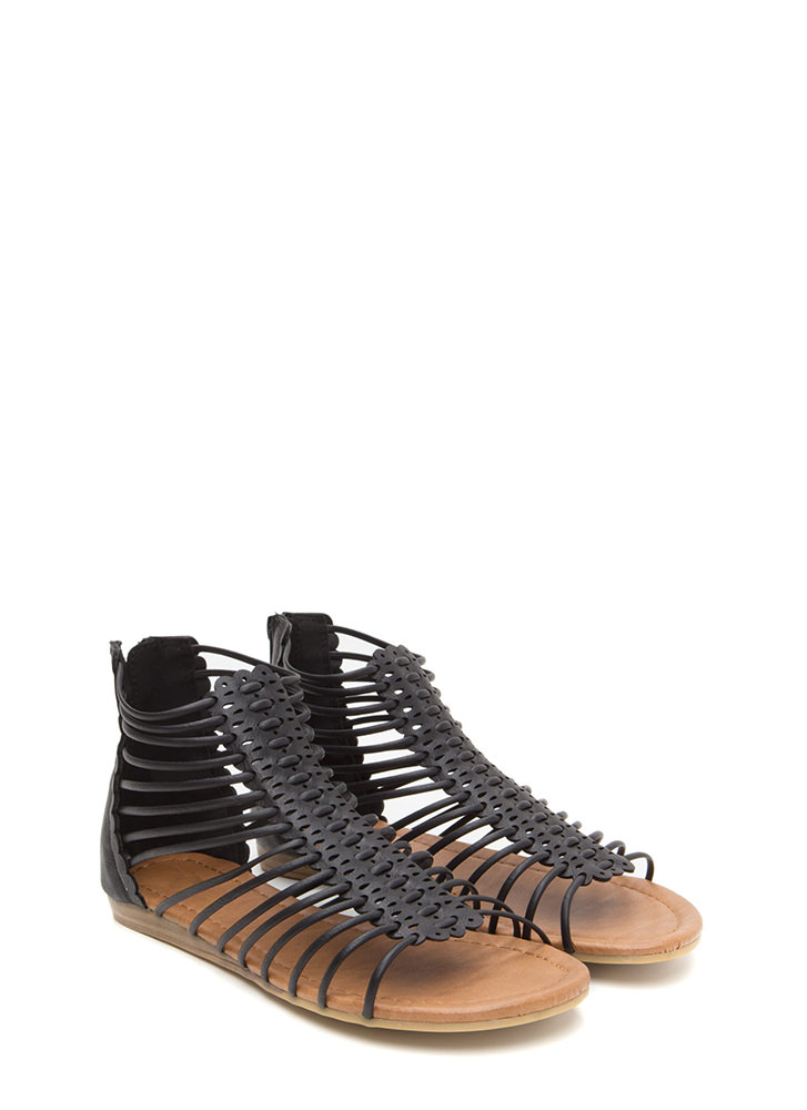 The Skinny Scalloped Gladiator Sandals BLACK