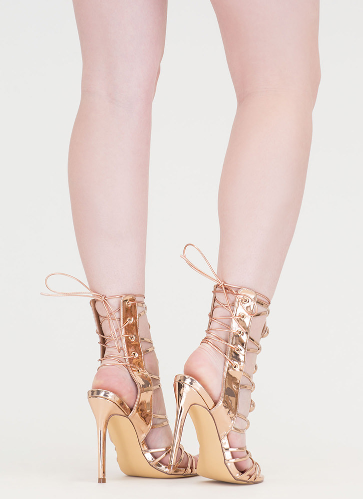 Dome Town Metallic Laced Back Heels ROSEGOLD