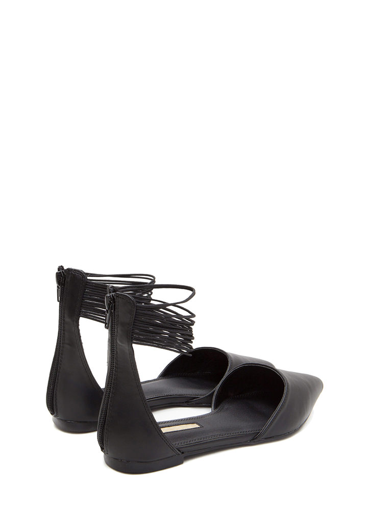 The Right Cords Pointy Faux Patent Flats BLACK