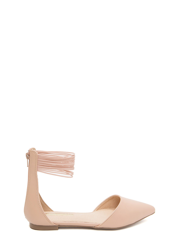 The Right Cords Pointy Faux Patent Flats NUDE