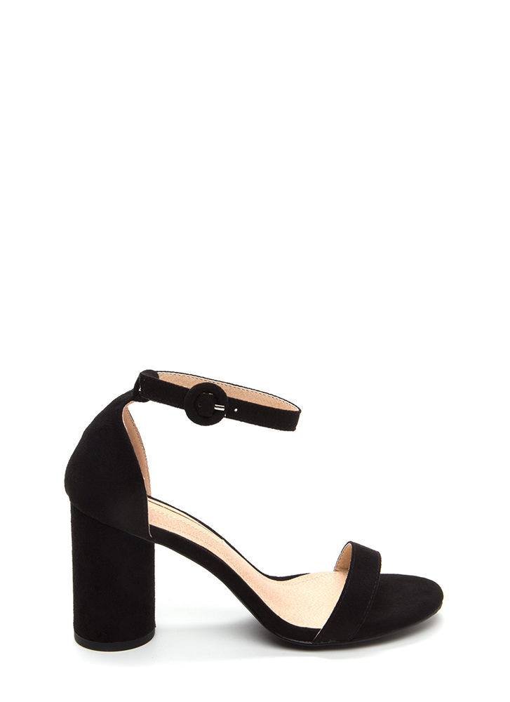 Right This Way Chunky Cylindrical Heels BLACK