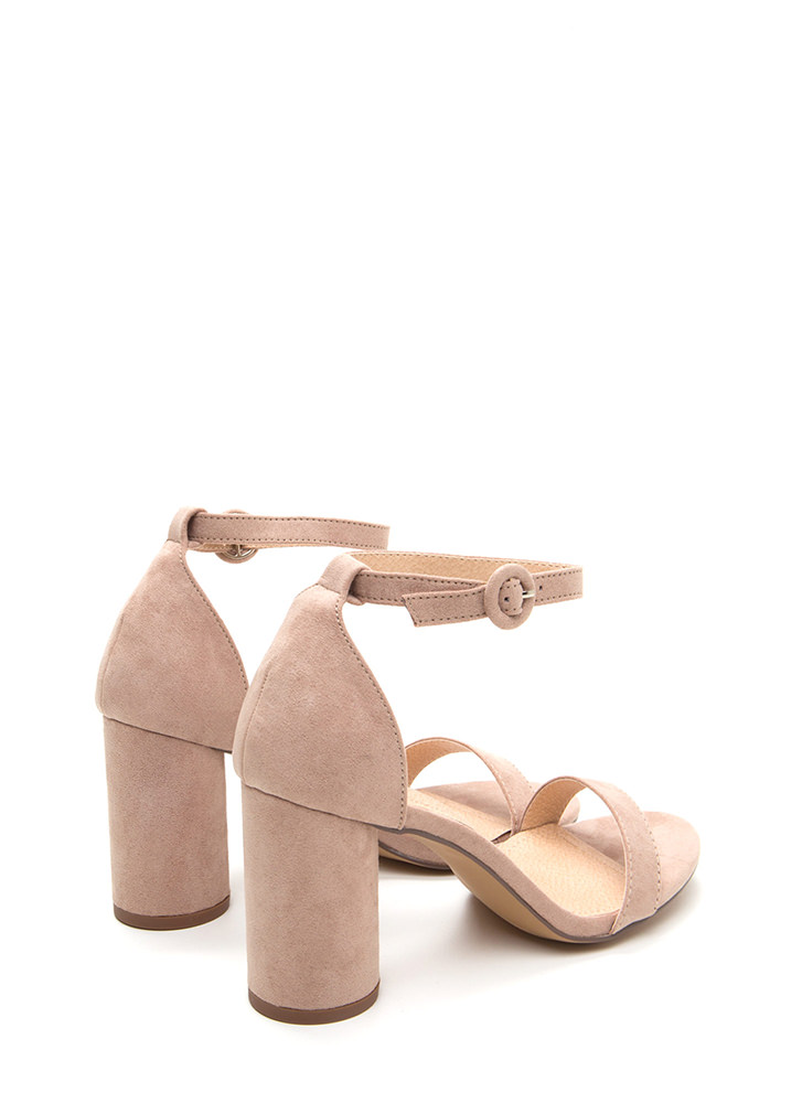 Right This Way Chunky Cylindrical Heels NUDE