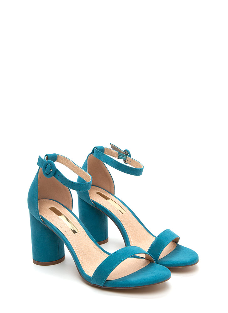 Right This Way Chunky Cylindrical Heels TEAL