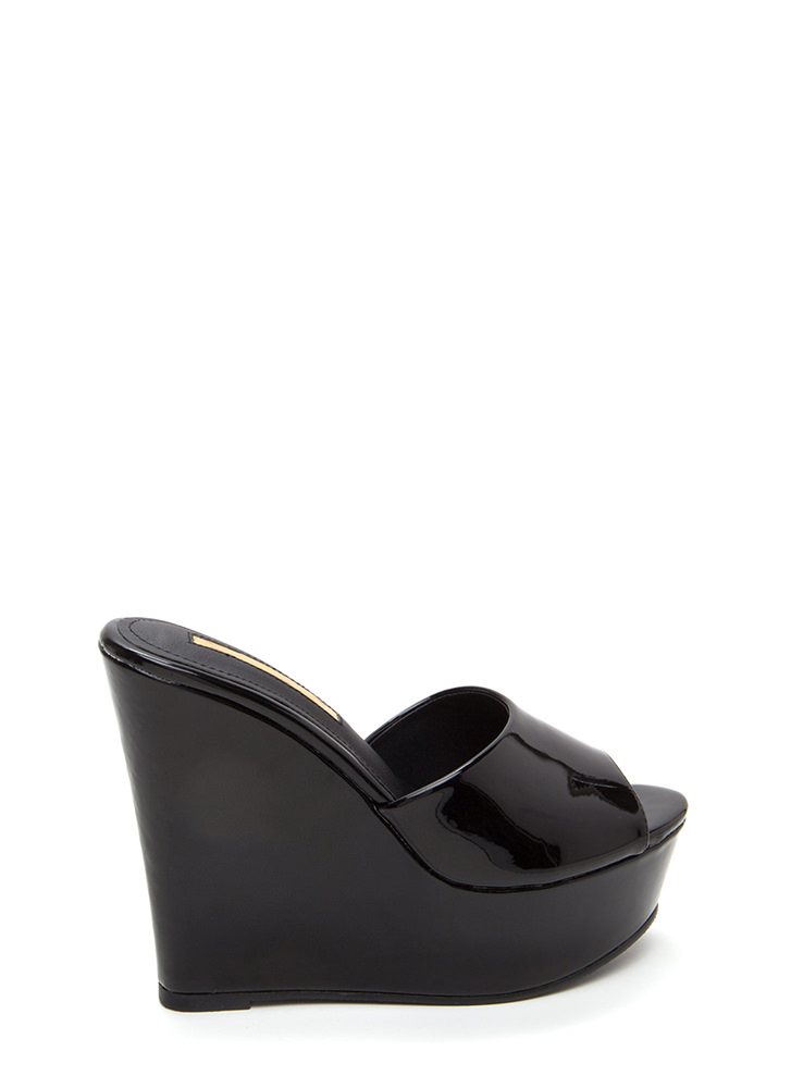 Easy Life Faux Patent Mule Wedges BLACK
