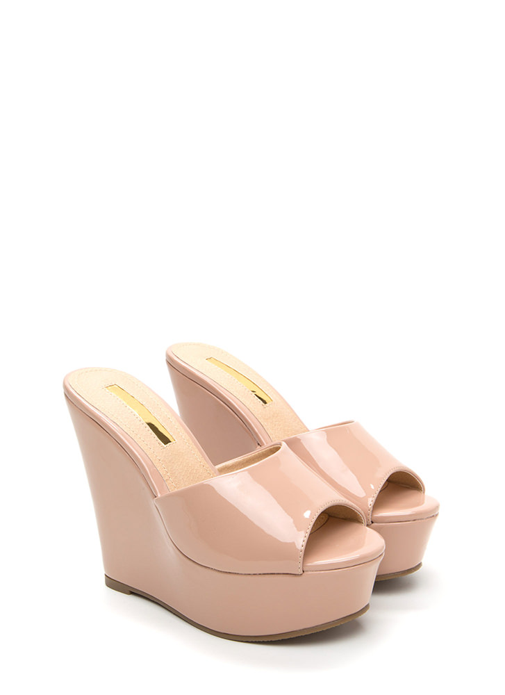 Easy Life Faux Patent Mule Wedges NUDE
