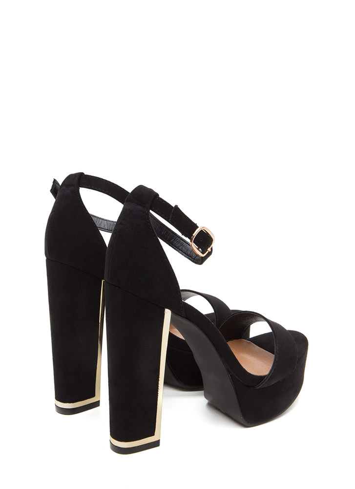 Gleam Up Chunky Faux Suede Heels BLACK