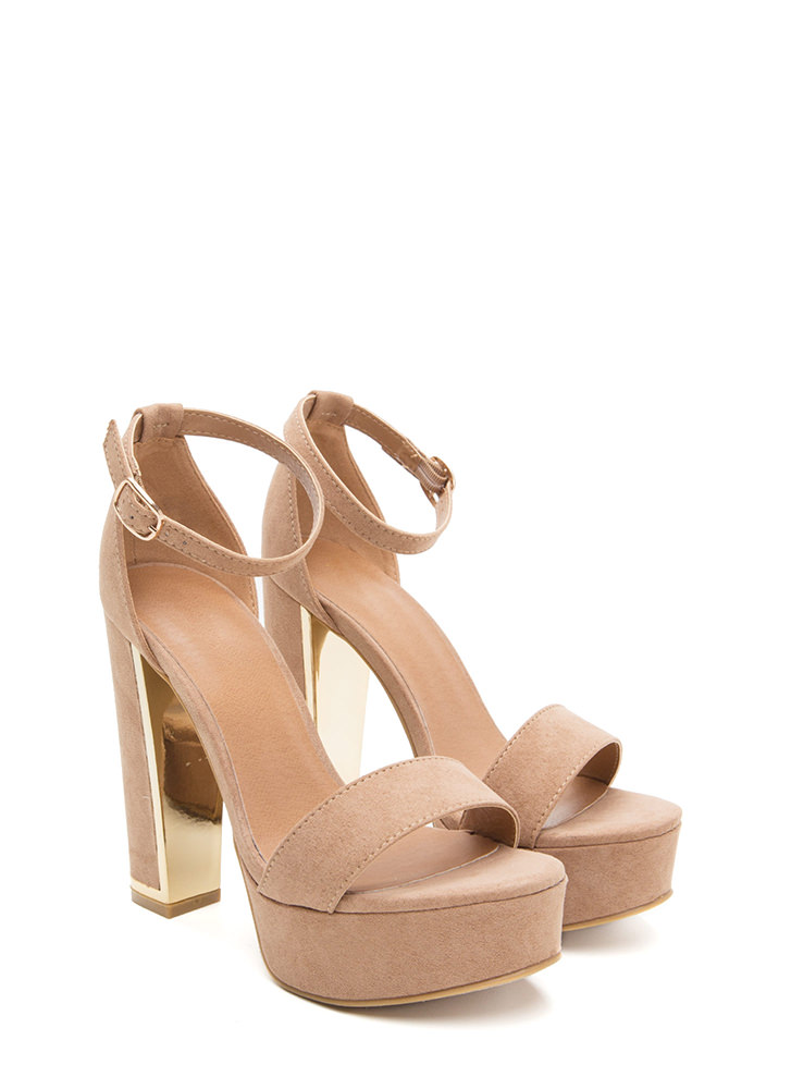 Gleam Up Chunky Faux Suede Heels CAMEL