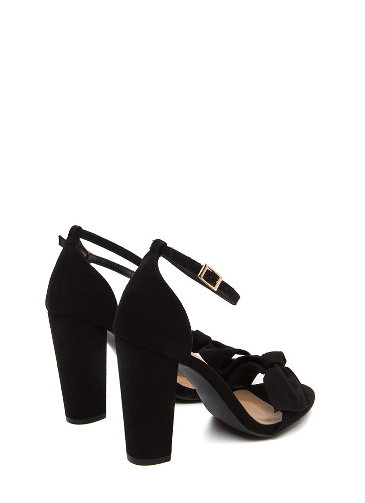 Bow Beyond Chunky Faux Suede Heels BLACK