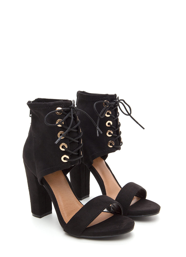 Tie You Down Chunky Faux Suede Heels BLACK