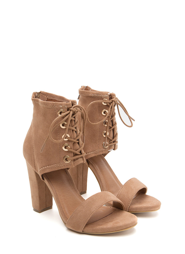 Tie You Down Chunky Faux Suede Heels CAMEL