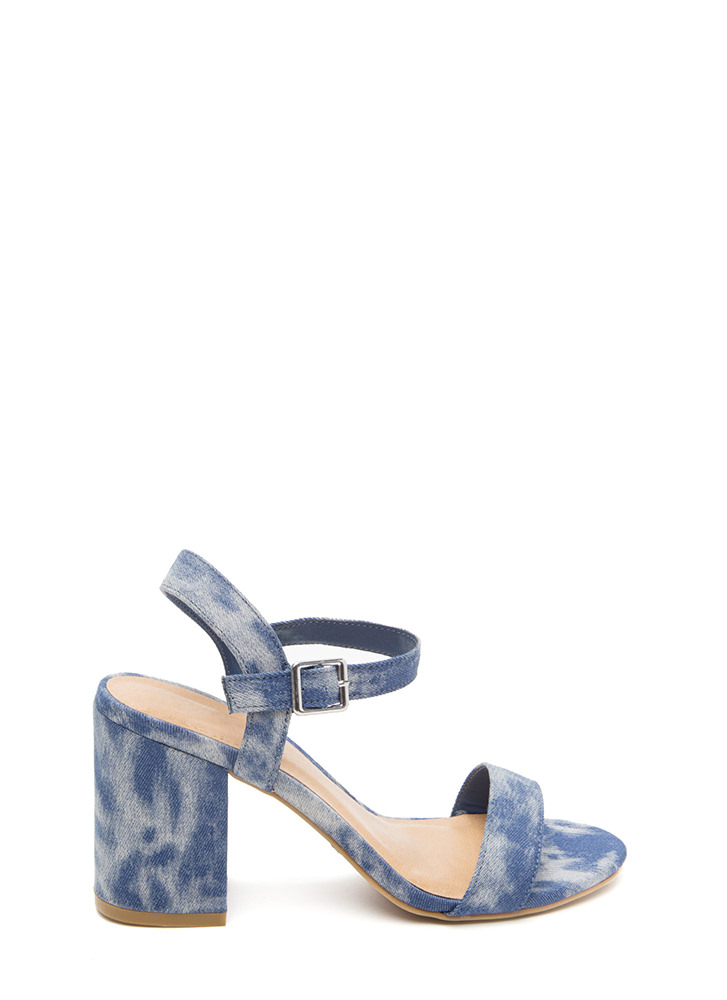 Daring Denim Chunky Washed Heels BLUE