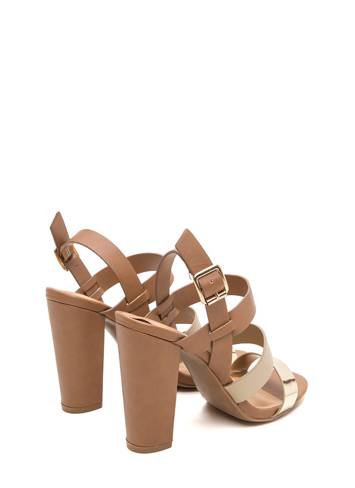Three For All Strappy Colorblock Heels TANMULTI