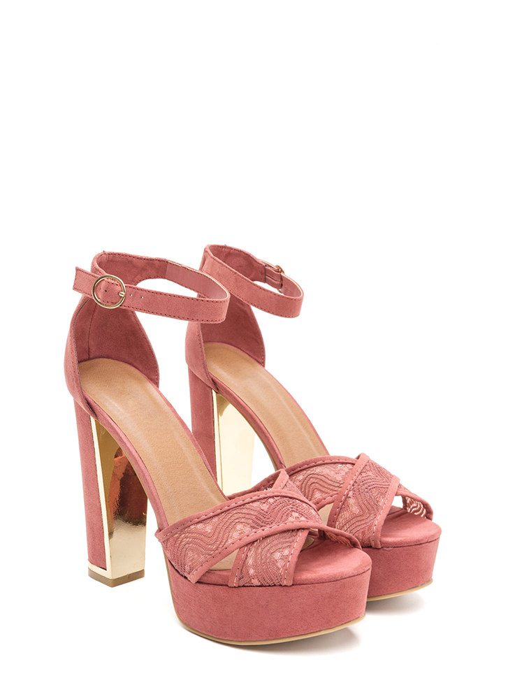 On My Lace Chunky Faux Suede Heels DKMAUVE