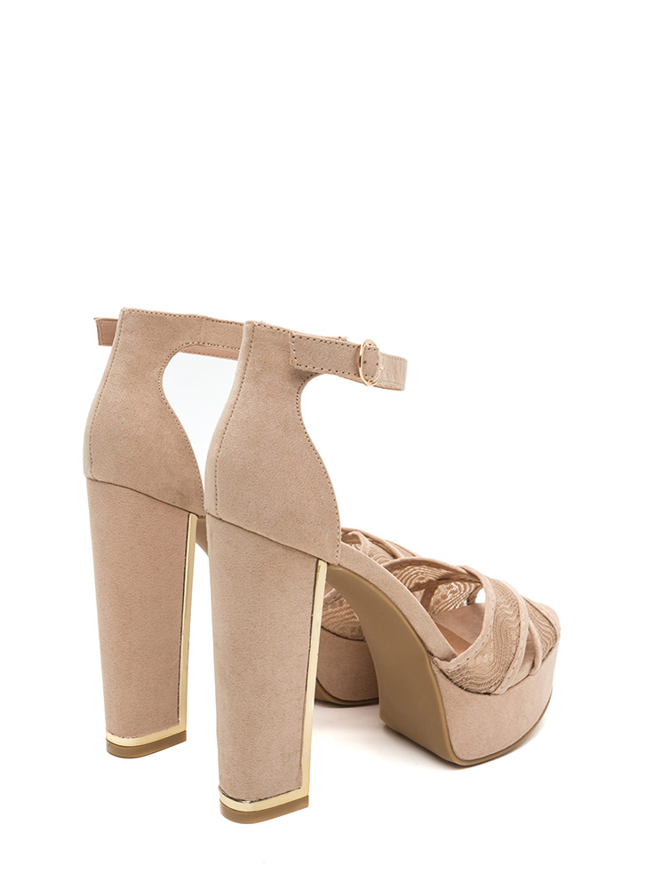On My Lace Chunky Faux Suede Heels NUDE