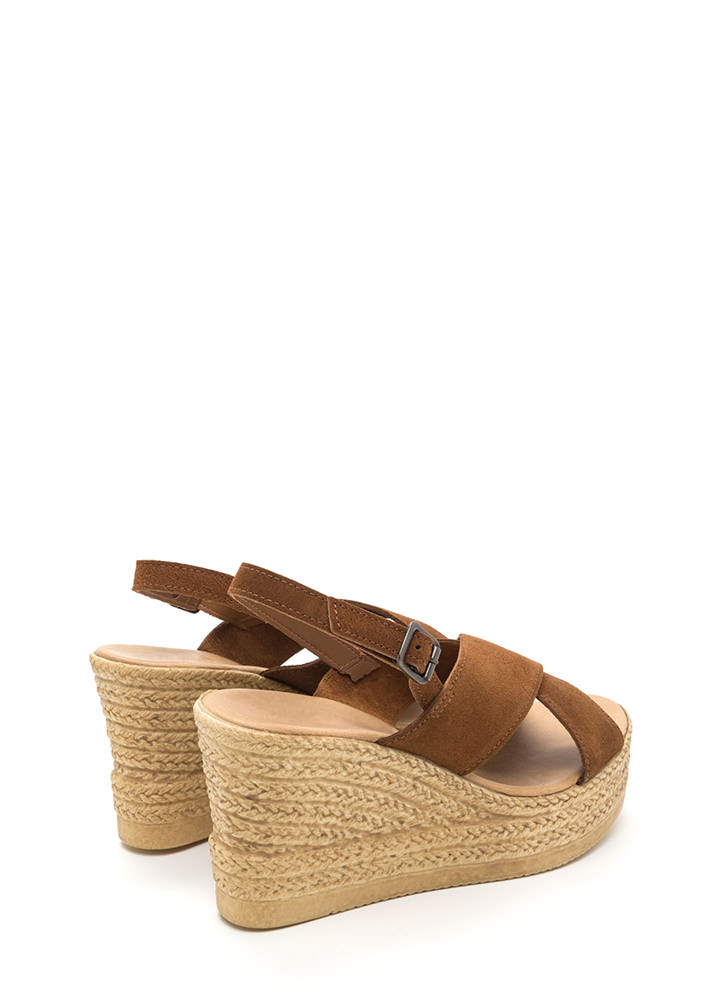 This Is My X Faux Espadrille Wedges COGNAC