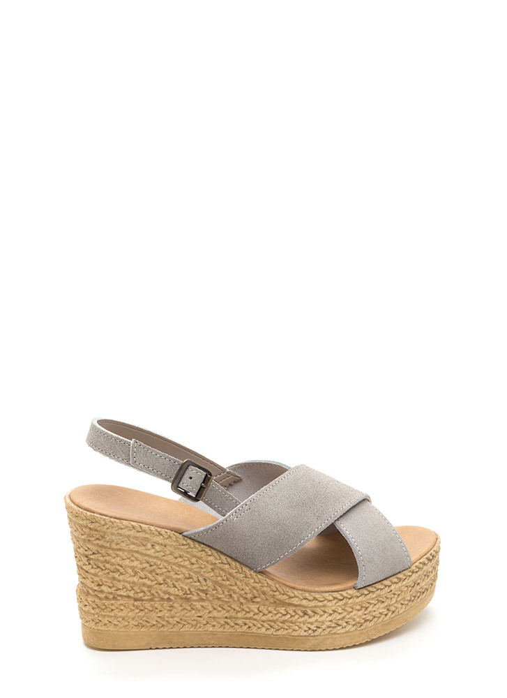 This Is My X Faux Espadrille Wedges GREY