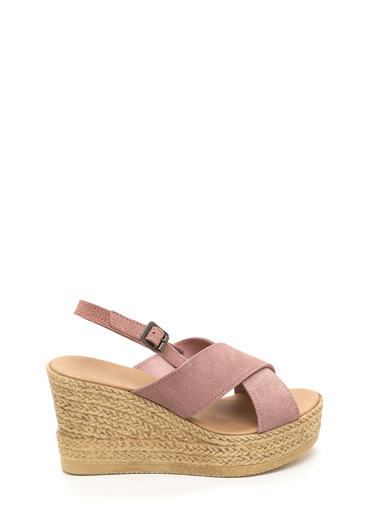 This Is My X Faux Espadrille Wedges MAUVE