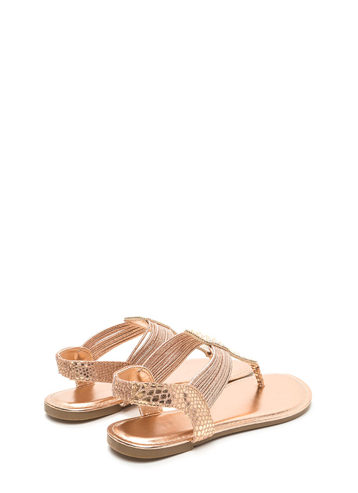Stack Up Shiny Jeweled Thong Sandals ROSEGOLD