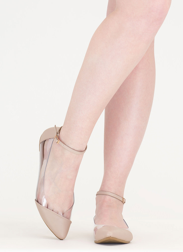 Power Points Clear Faux Leather Flats NUDE