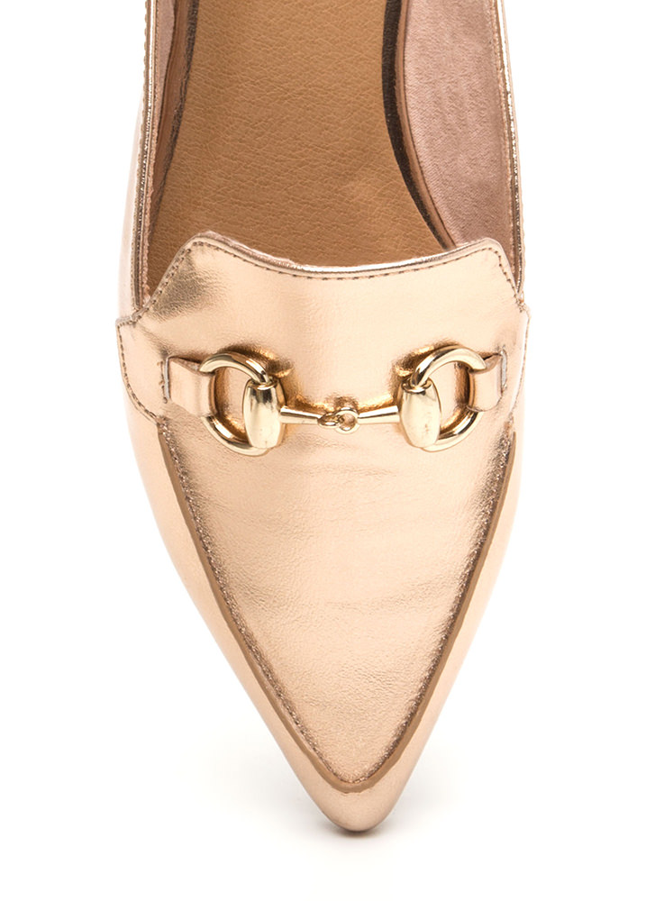 Elevated Everyday Metallic Mule Flats ROSEGOLD