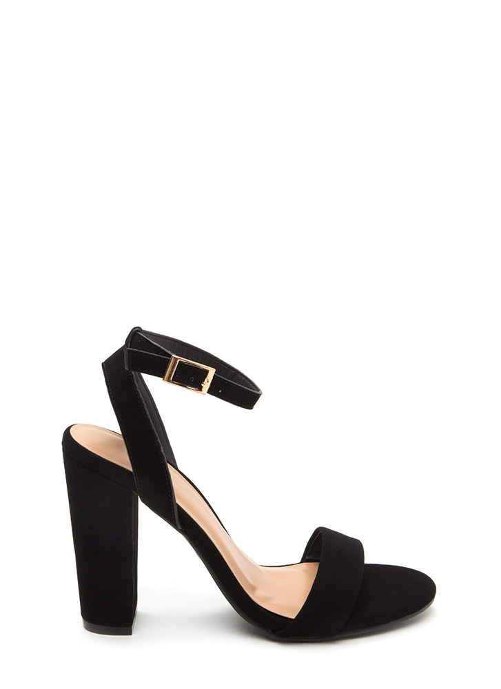 Strappy To Help Chunky Faux Nubuck Heels BLACK