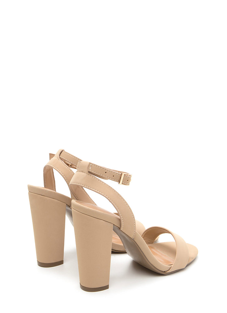 Strappy To Help Chunky Faux Nubuck Heels NUDE