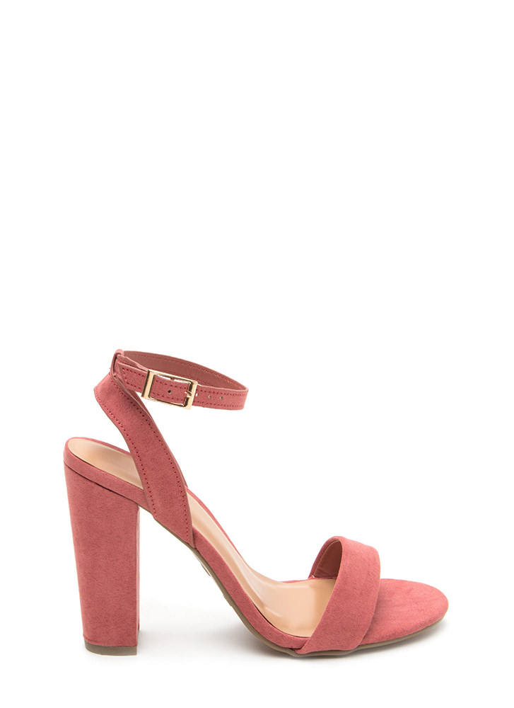 Strappy To Help Chunky Faux Suede Heels DKMAUVE