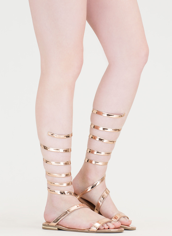 Wrap Party Faux Patent Gladiator Sandals ROSEGOLD