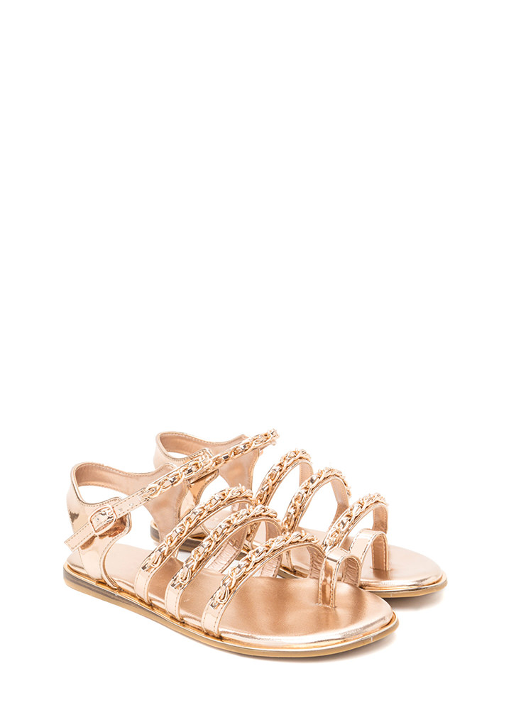 Four Chainz Strappy Faux Patent Sandals ROSEGOLD