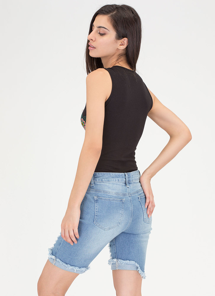 Snake On It Embroidered Lace-Up Bodysuit BLACK