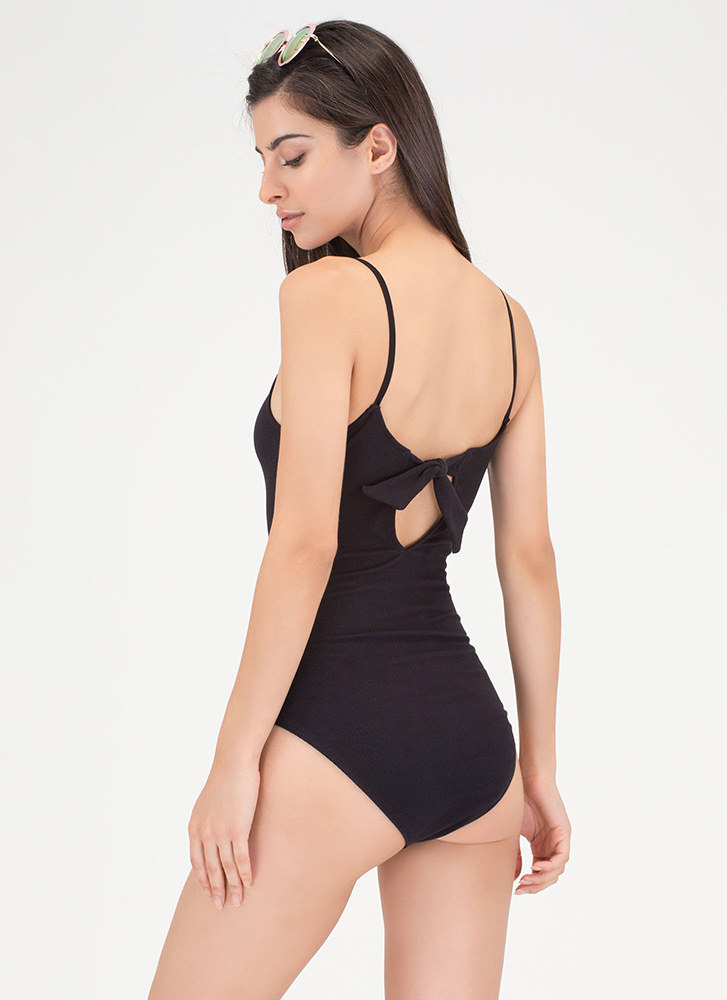 Bow All Out Plunging Rib Knit Bodysuit BLACK