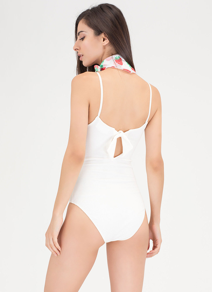 Bow All Out Plunging Rib Knit Bodysuit IVORY