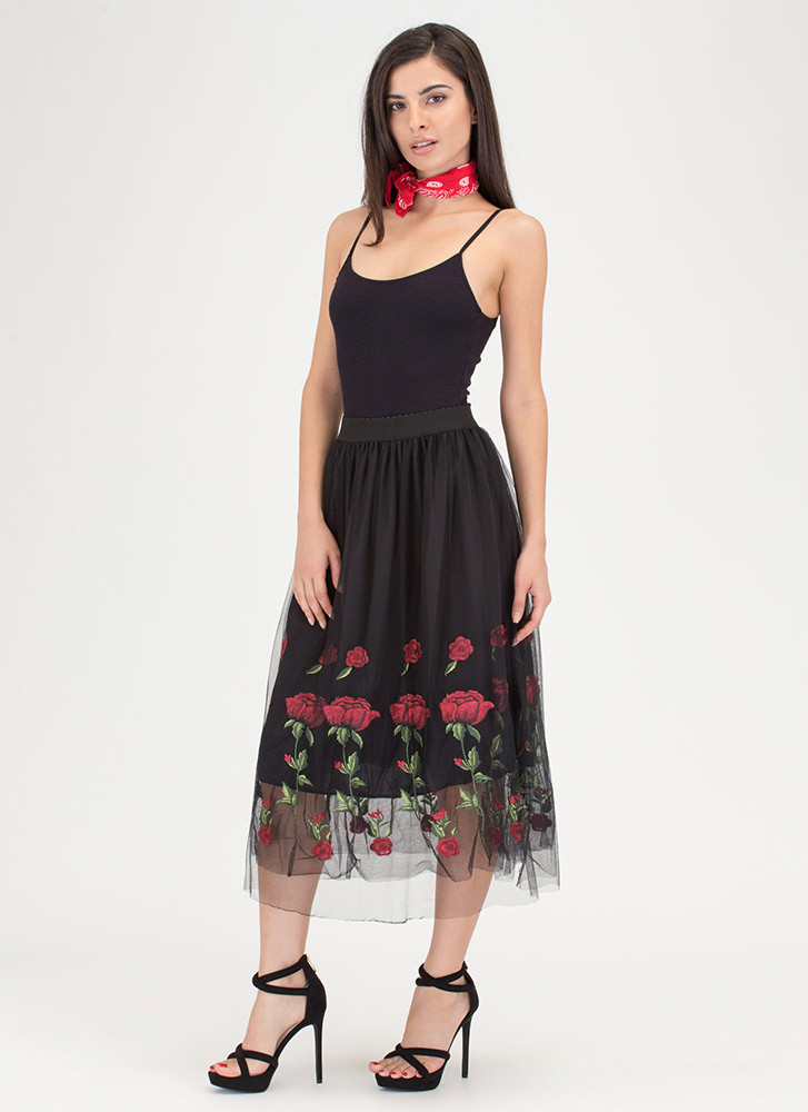 Sheer To Stay Embroidered Floral Skirt BLACK