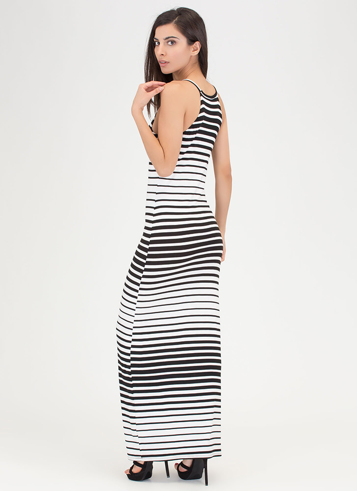 Learn Your Lines Striped Maxi Dress WHITE