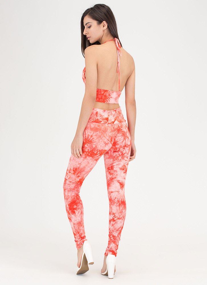 Ends In A Tie-Dye Halter And Legging Set RED