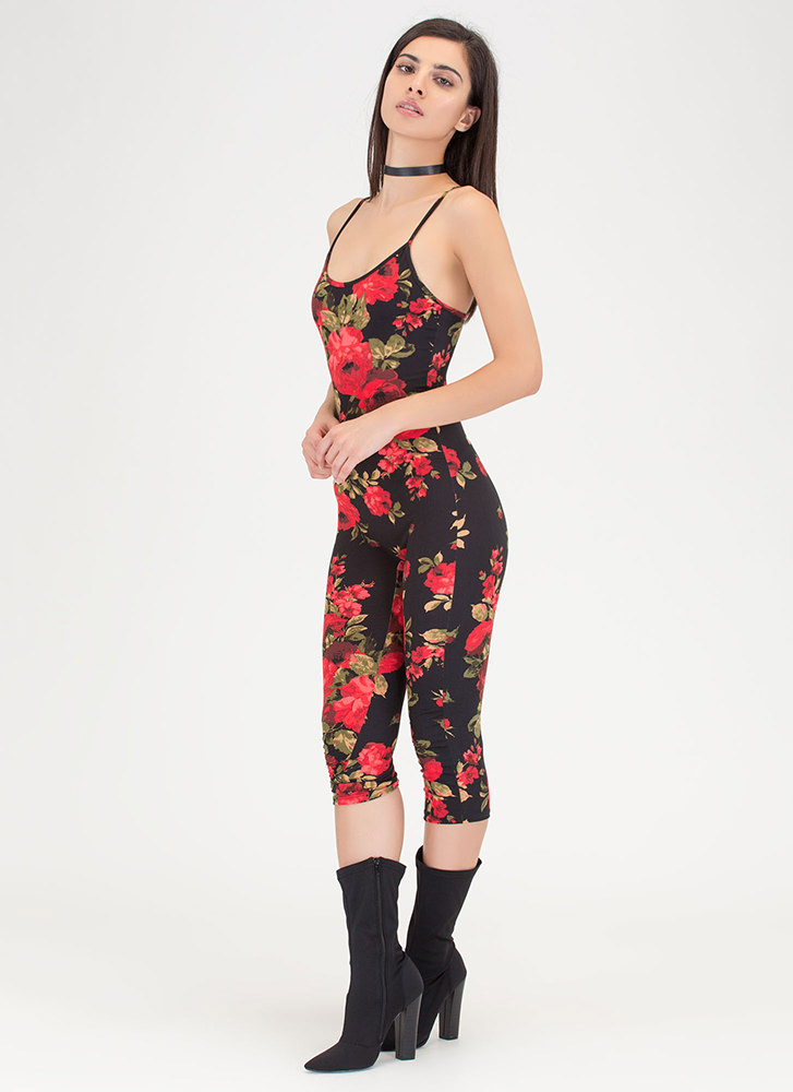 Floral Fixation Cropped Jumpsuit BLACKRED